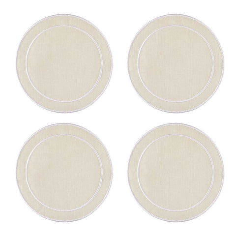 Linho Simple Round Coaster Ivory / White - Set of 4