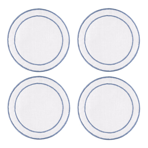 Linho Simple Round Coaster White / Blue - Set of 4