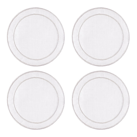 Linho Simple Round Coaster White / White - Set of 4