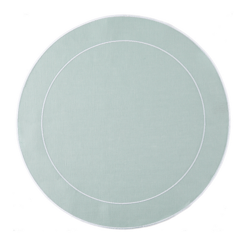 Linho Simple Round Placemat Ice Blue / White - Set of 2