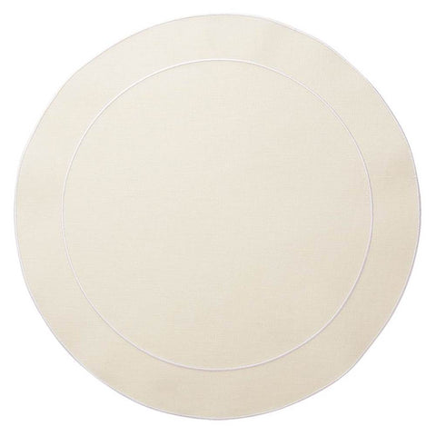 Linho Simple Round Placemat Ivory / White - Set of 2
