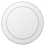 Linho Simple Round Placemat White / Blue - Set of 2