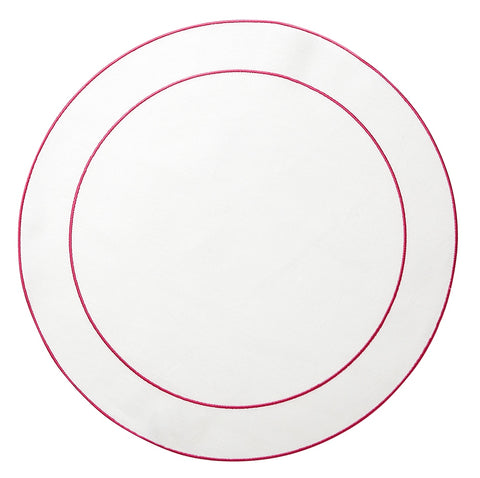 Linho Simple Round Placemat White / Fucshia - Set of 2