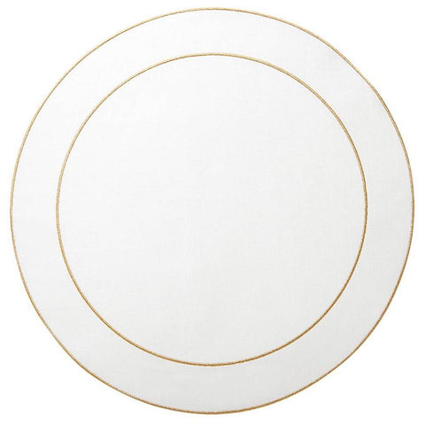 Linho Simple Round Placemat White / Gold - Set of 2