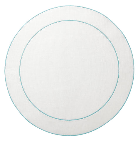 Linho Simple Round Placemat White / Ice Blue - Set of 2