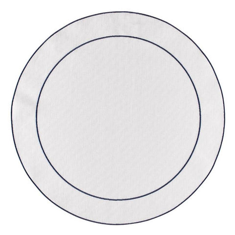 Linho Simple Round Placemat White / Navy - Set of 2