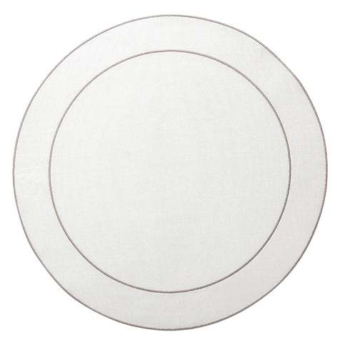 Linho Simple Round Placemat White / Platinum - Set of 2