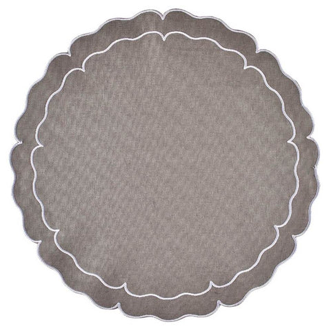 Linho Scalloped Round Placemat Charcoal / White - Set of 2