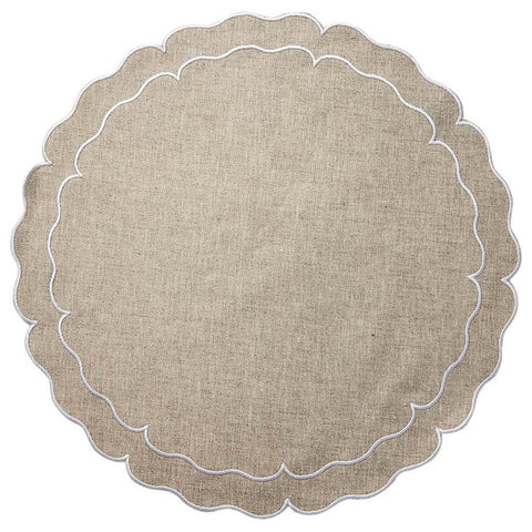 Linho Scalloped Round Placemat Dark Natural / White - Set of 2
