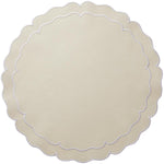 Linho Scalloped Round Placemat Ivory / White - Set of 2