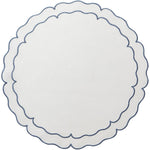 Linho Scalloped Round Placemat White / Blue - Set of 2