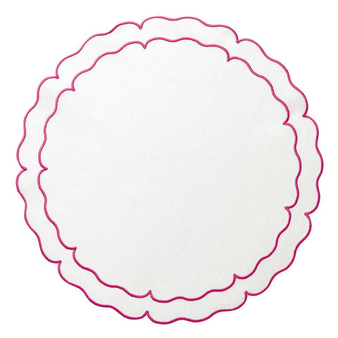 Linho Scalloped Round Placemat White / Fuschia - Set of 2