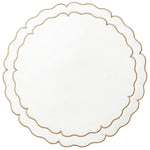 Linho Scalloped Round Placemat White / Gold - Set of 2