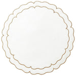 Linho Scalloped Round Placemat Ivory / Gold - Set of 2