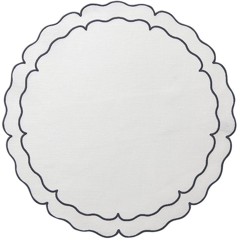 Linho Scalloped Round Placemat White / Navy - Set of 2
