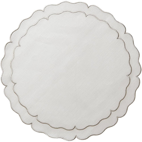 Linho Scalloped Round Placemat White / Platinum - Set of 2