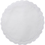 Linho Scalloped Round Placemat White / White - Set of 2