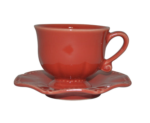 Isabella Cup & Saucer Venetian Red