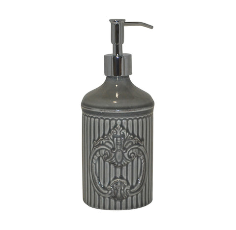 Crista Soap/Lotion Dispenser with Metal Pump Gray