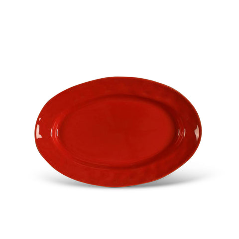 Cantaria Small Oval Platter Poppy Red
