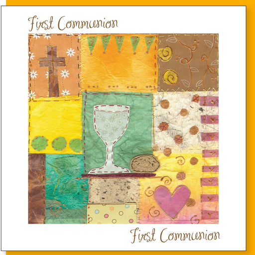 Catholic 1st Holy Communion Chalice & Cross Greetings Card With Bible Verse