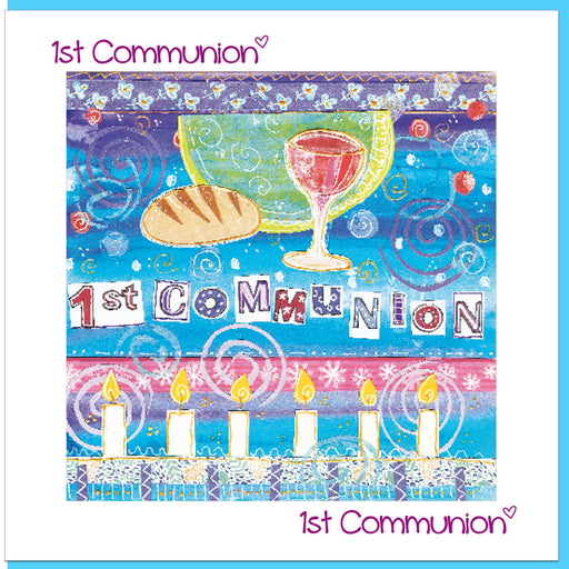 Catholic 1st Holy Communion Chalice Cup Greetings Card With Bible Verse