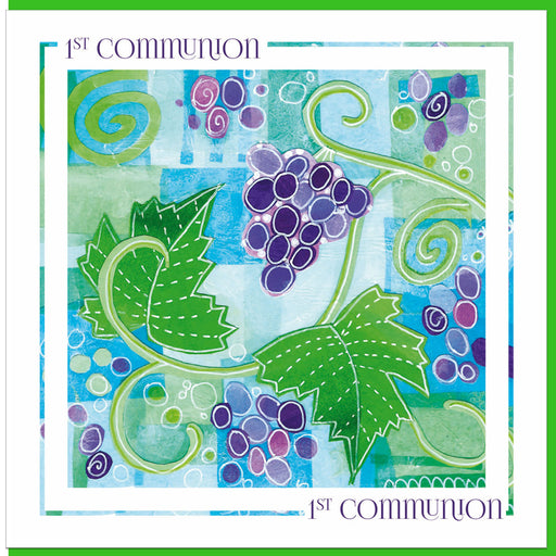 Catholic 1st Holy Communion Vine & Grapes Greetings Card With Bible Verse