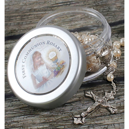First Holy Communion Catholic Gifts, First Communion Rosary For a Girl, Imitation Pearl Rosary