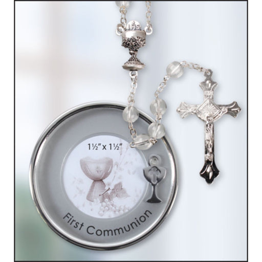 First Holy Communion Catholic Gifts,First-Communion-Rosary-with-a-Silver-Plated-Metal-Keepsake-Photo-Box-