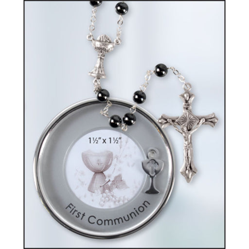 First Holy Communion Catholic Gifts,First Communion Rosary & Silver Plated Metal Keepsake Photo Box, Imitation Hematite Rosary Beads