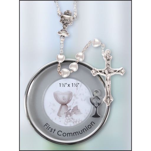 First Holy Communion Catholic Gifts, First Communion Rosary & Silver Plated Metal Keepsake Photo Box, Heart Shaped Pearlised Rosary Beads