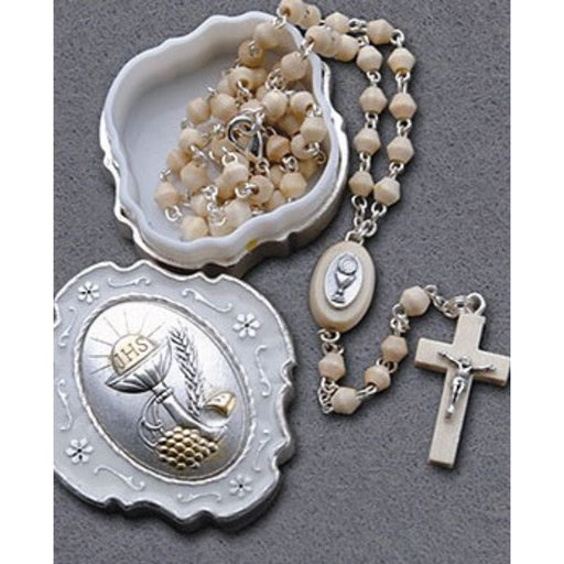 First Holy Communion Catholic Gifts, First Holy Communion Olive Wood Rosary, With Enamelled Metal Presentation Box