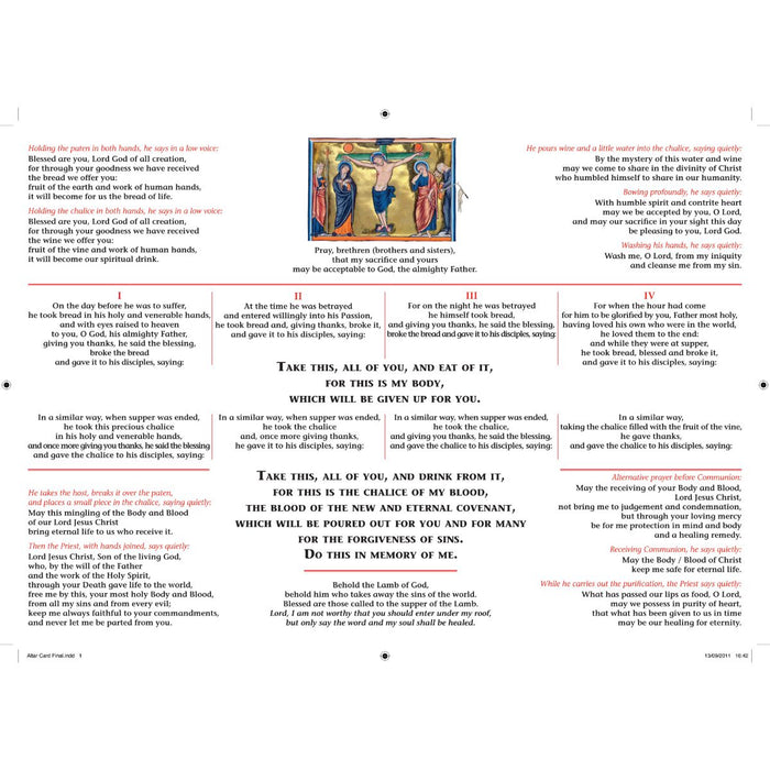 Order Of The Mass, Altar Card, A4 Laminated Card, by CTS