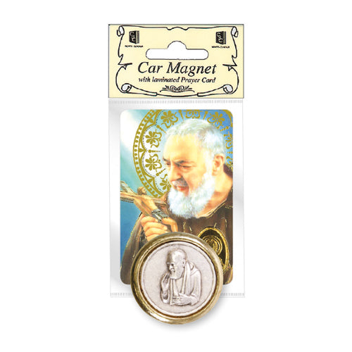 St Padre Pio Car Magnet and Prayer Card