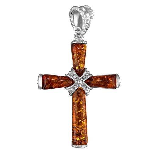 Amber Sterling Silver Cross 35mm In Length Christian Jewellery