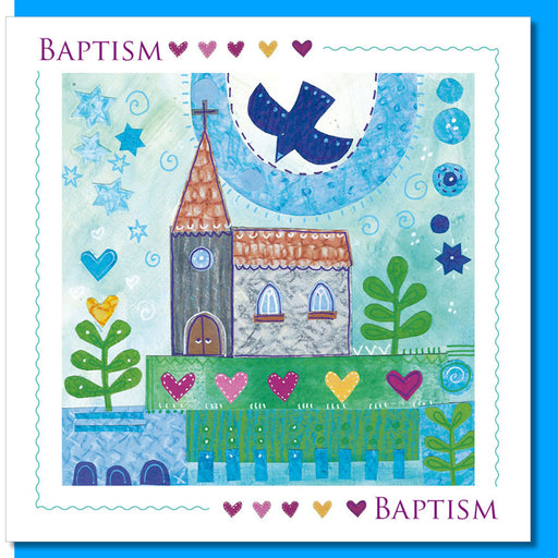 Baptism Church & Dove Greetings Card With Bible Verse