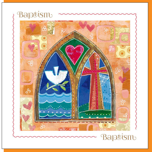 Christian Baptism Church Window Greetings Card With Bible Verse
