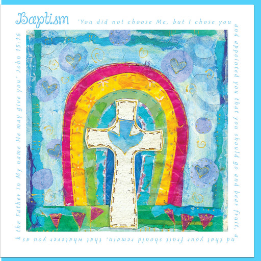 Christian Baptism Rainbow Greetings Card With Bible Verse