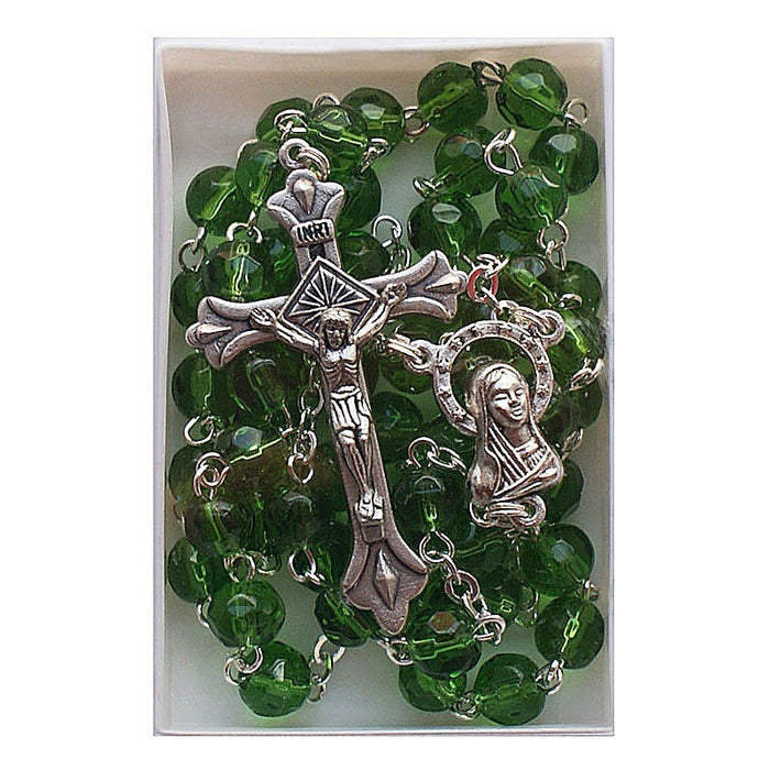 Birthstone Glass Rosary May Emerald