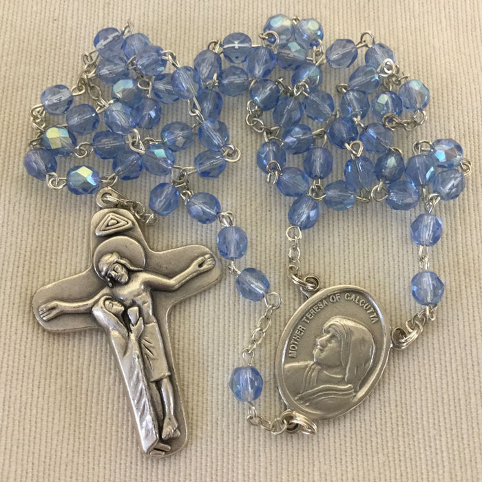Blue Glass Mother Teresa Devotional Rosary