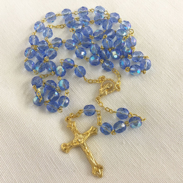 Blue Glass Rosary Beads 7mm Beads