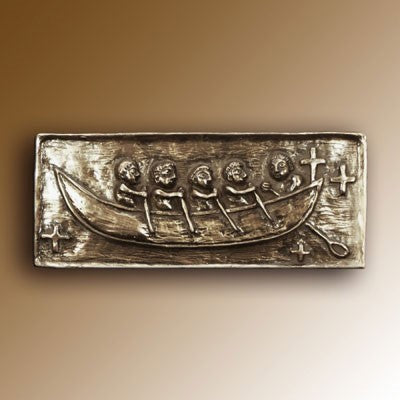 Christian Gifts, St Brendan's Bantry Boat 15cm Wide, Hand Cast Bronze Resin Plaque From The Wild Goose Studio