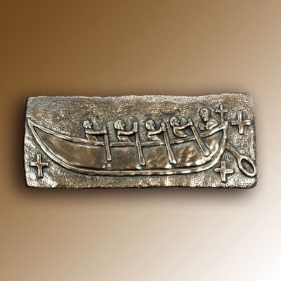 Christian Gifts, St Brendan's Bantry Boat 31cm Wide, Hand Cast Bronze Resin Plaque From The Wild Goose Studio