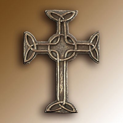 Christian Gifts, Celtic Cross of Faith 16cm High. Hand Cast Bronze Resin From The Wild Goose Studio