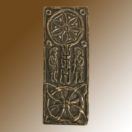 Christian Gifts, Celtic Cross of Journeys & Meetings 10.5cm High, Hand Cast Bronze Resin Plaque From The Wild Goose Studio