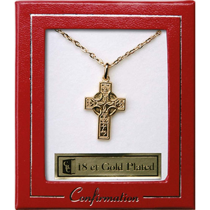 Celtic Cross Gold Plated Confirmation Pendant With 18 Inch Chain