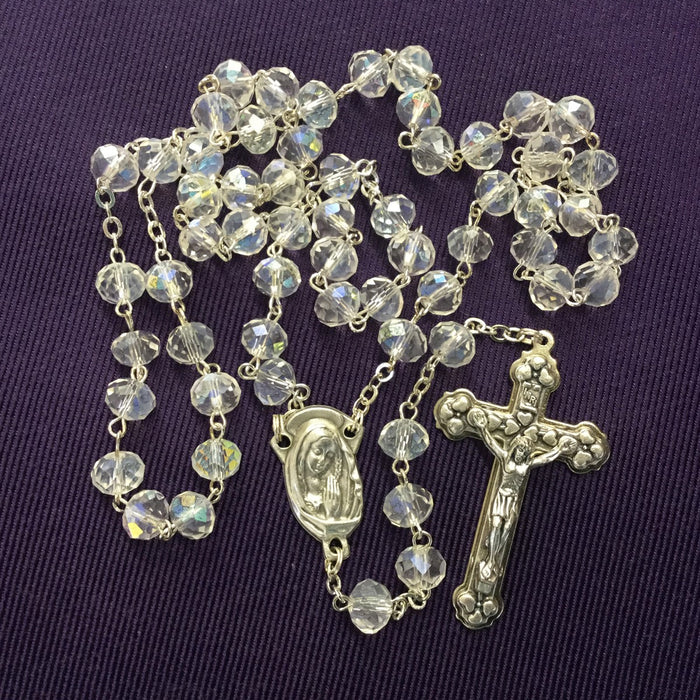 Crystal Rosary With Tin Cut 8mm Beads