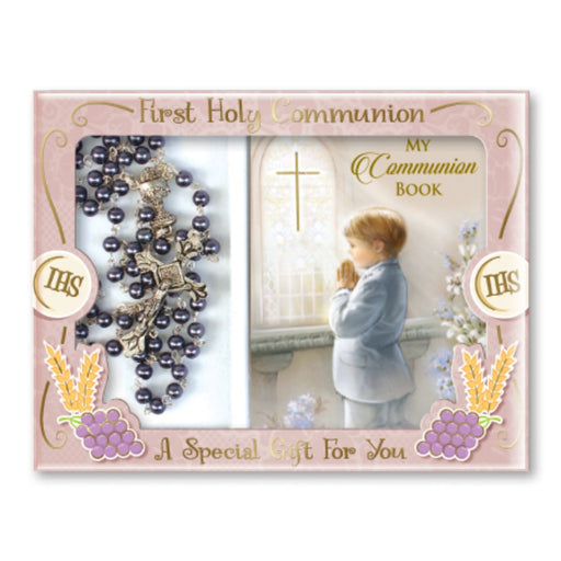 First Holy Communion Catholic Gifts, Paperback Prayer Book Colour Illustrated with 64 Pages, containing The Order of The Mass and a selection of favourite Prayers and a Glass Imitation Hematite Rosary. Book Size: 3 1/2 inchx2 3/4 inches.