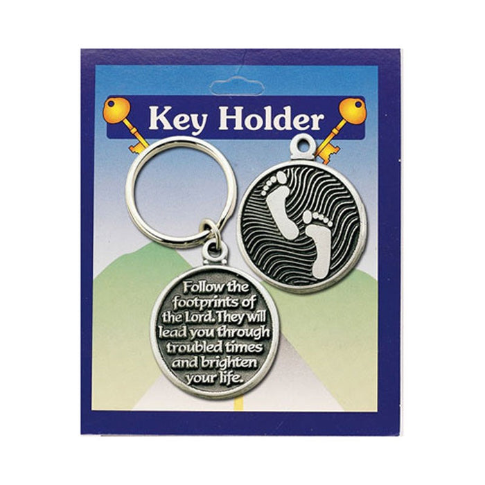 Footprints Prayer Pewter Keyring