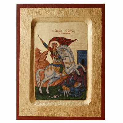 St George and the Dragon Recessed Handmade Icon, Available In 4 Sizes